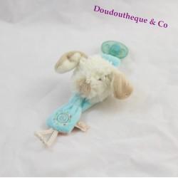 Attache tétine Kishoo chien NOUKIE'S Tifoo bleu spirale 20 cm