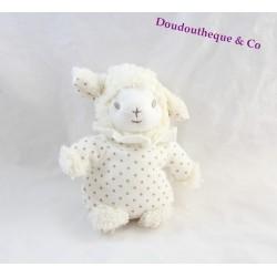 Peluche mouton PEDIATRIL AVENE blanc pois doré 17 cm