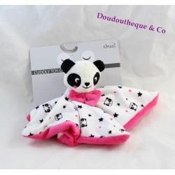 Doudou plat panda KIMADI rose blanc étoile noir