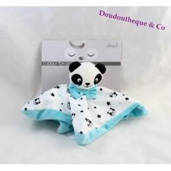 Doudou plat panda KIMADI bleu blanc étoile noir