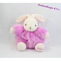 Doudou boule lapin KALOO fourrure Fur rose 18 cm