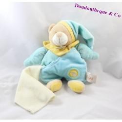 Doudou mouchoir ours BABY NAT bleu 23cm