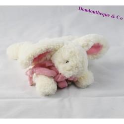 Doudou Lapin Bonbon DOUDOU ET COMPAGNIE 18 cm rose blanc