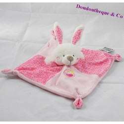 Doudou flat rabbit MOTS D'ENFANTS pink bird Leclerc 21 cm