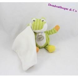 Doudou mouchoir grenouille BABY NAT' Pantin côtelés vert blanc 17 cm