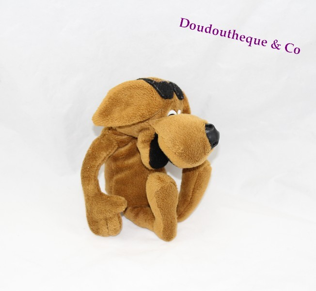 peluche publicitaire chien caisse pargne marron lunettes noir 24 c. Black Bedroom Furniture Sets. Home Design Ideas