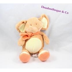 Doudou éléphant BENGY orange jaune écharpe 24 cm