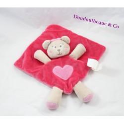 Doudou plat ours KIMBALOO rose coeur brodé 30 cm