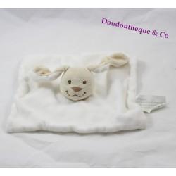 Doudou plat lapin KIMBALOO blanc tête et oreilles beige 22 cm