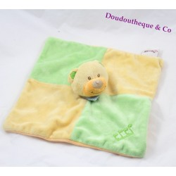 Doudou plat ours BENGY note musique vert orange 22 cm