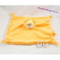 Doudou plat Mr lion LES CHATOUNETS orange attache tétine 26 cm