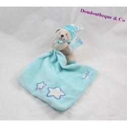 Doudou mouchoir ours BABY NAT' Luminescent étoile bleu 11 cm