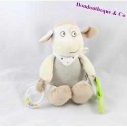 Doudou d'activité mouton MOTS D'ENFANTS beige 26 cm