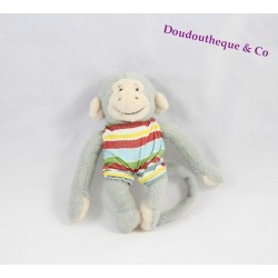 Mini doudou Singe Popi BAYARD Leo et Popi maillot rayé  12 cm