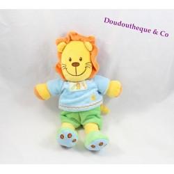 Peluche lion MA PETITE TRIBU Kiabi vert bleu orange 30 cm