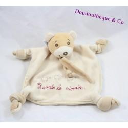 "Doudou flat bear Teddy brown beige 4 knots ""to sleep the ninnin"""