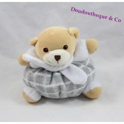 Doudou boule ours NOUNOURS carreaux gris blanc écharpe grelot 13 cm