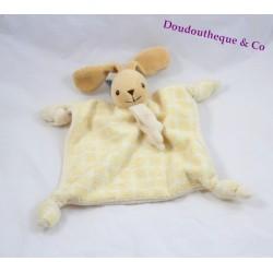 Doudou flat rabbit Teddy yellow tiles 4 nodes 20 cm