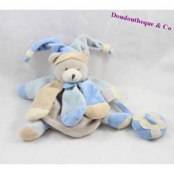 Doudou Ours DOUDOU ET COMPAGNIE marionnette Collector bleu beige