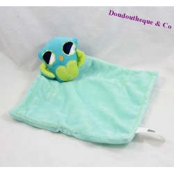 Doudou plat chouette HEMA hibou bleu vert 30 cm