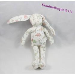 Doudou rabbit Sergeant MAJOR printed white Savannah jungle 25 cm