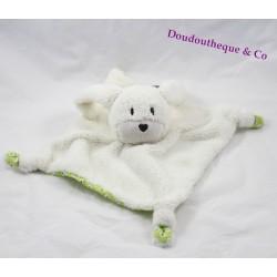 Doudou rabbit flat ORCHESTRA Prémaman white green round peas 24 cm