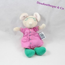 Doudou souris MOULIN ROTY mademoiselle Cheese robe rose lunette verte