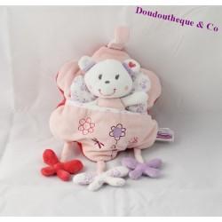 Doudou ours POMMETTE papillon poche fleur rose 21 cm