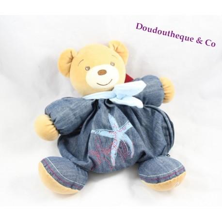 Sac à dos ours KALOO Blue Denim bleu jean peluche 30 cm