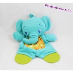 Doudou plat éléphant BRIGHT STARTS anneau de dentition bleu 22 cm