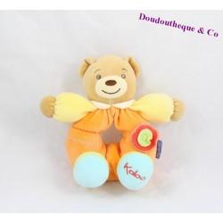 Doudou hochet ours KALOO orange 19cm