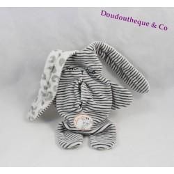 Doudou double face lapin CATIMINI blanc et noir réversible 35 cm