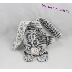 Doudou double faced rabbit CATIMINI black and white reversible 35 cm
