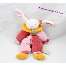 Doudou lapin BABY NAT' rose orange bicolore broderie 22 cm
