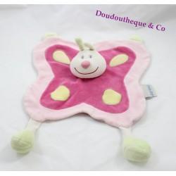 Doudou plat papillon NATTOU rose Hippo et Flo 30 cm