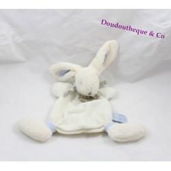 Doudou plat lapin Bonbon DOUDOU ET COMPAGNIE bleu et blanc poils ras 25 cm