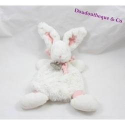 Doudou plat lapin Bonbon DOUDOU ET COMPAGNIE rose et blanc 30 cm