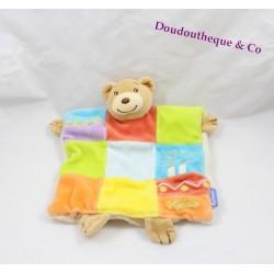 Doudou marionnette ours KALOO bougies anniversaire patchwork 24 cm