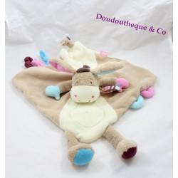Doudou flat donkey BABYSUN beige pink blue 48 cm