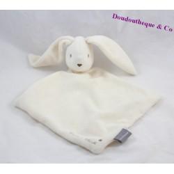 Doudou plat lapin SERGENT MAJOR blanc beige 31 cm