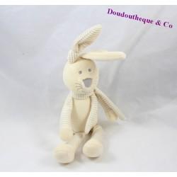 Doudou lapin GEMO beige écharpe rayée coeur 25 cm