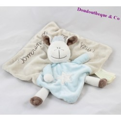 Doudou flat sheep KIMBALOO My little z'animals beige blue 22 cm