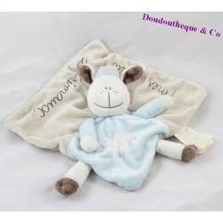 Doudou plat mouton KIMBALOO Mes petits z'animaux bleu beige 22 cm