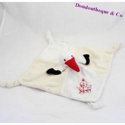 Doudou flat beige white stork RODADOU RODA 3 knots 25 cm
