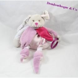 Doudou d'éveil lapin BABY NAT' Diablotine pantin d'activités rose 27 cm