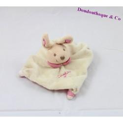 Doudou plat lapin DOUDOU ET COMPAGNIE beige mini doudou col rose 15 cm