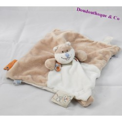 Doudou plat castor NOUKIE'S William et Henry beige blanc 26 cm