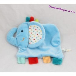 Doudou plat éléphant NICOTOY bleu étoile rayure 20 cm