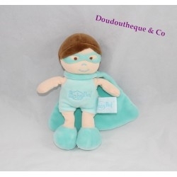 Doudou garçon BABY NAT' super héros bleu masque cape 19 cm