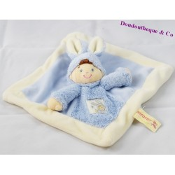 Doudou plat garçon déguisé en lapin NICOTOY bleu 23x23cm